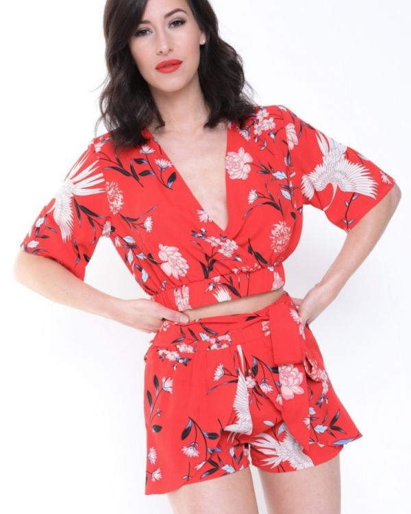 Vera Tropical Print Wrap Front Co-Ord In Red