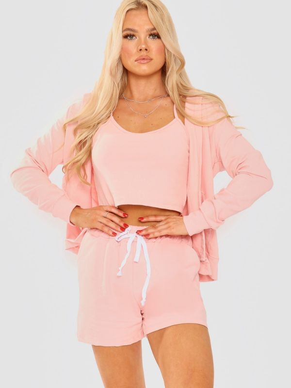 Kasey 3 Piece Hooded Co-ord Set In Pink