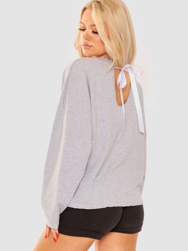 Kaitlin Tie Knot Back D'or Graphic Oversized Top In Grey