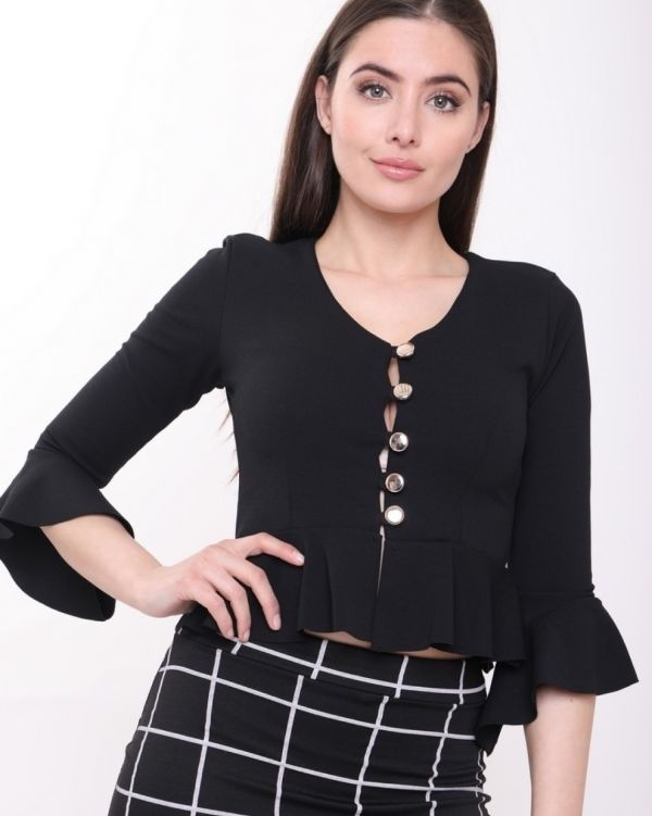 Tessa Button Up Peplum Top In Black