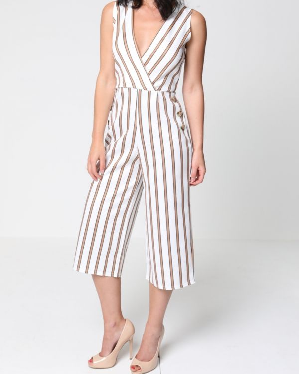 Alana Wrap Front Striped Culotte Jumpsuit In Mocha