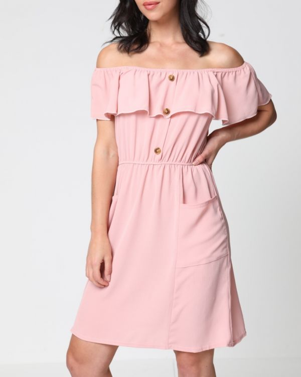 London Mock Button Frill Bardot Dress In Blush Pink