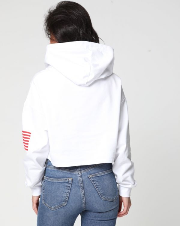 Khloe USA Print Oversized Hoodie Cropped Jumper In White