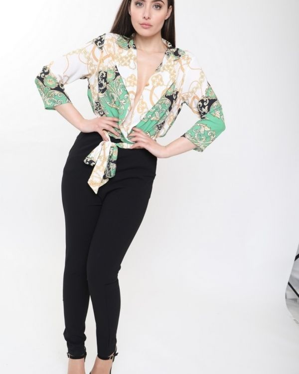 ** Olivia Buckland ** Eden Scarf Print Jumpsuit In Green
