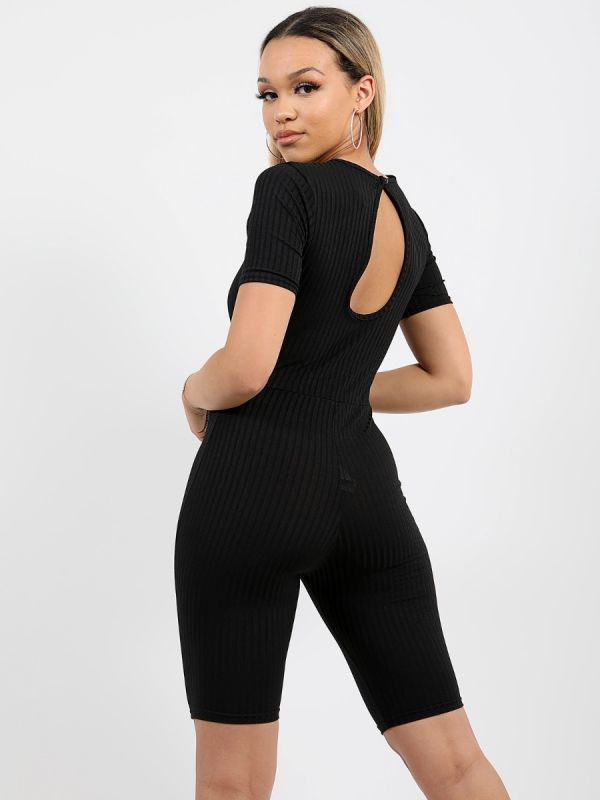 Aly Ribbed Corset Unitard Cycling Playsuit In Black