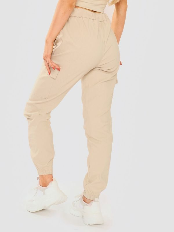 Daffney Utility Pocket Cargo Trouser Pants In Stone