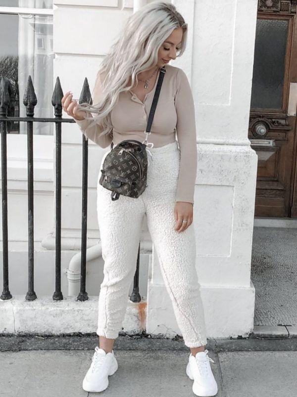 Grace Teddy Bear Borg Jogger In Cream