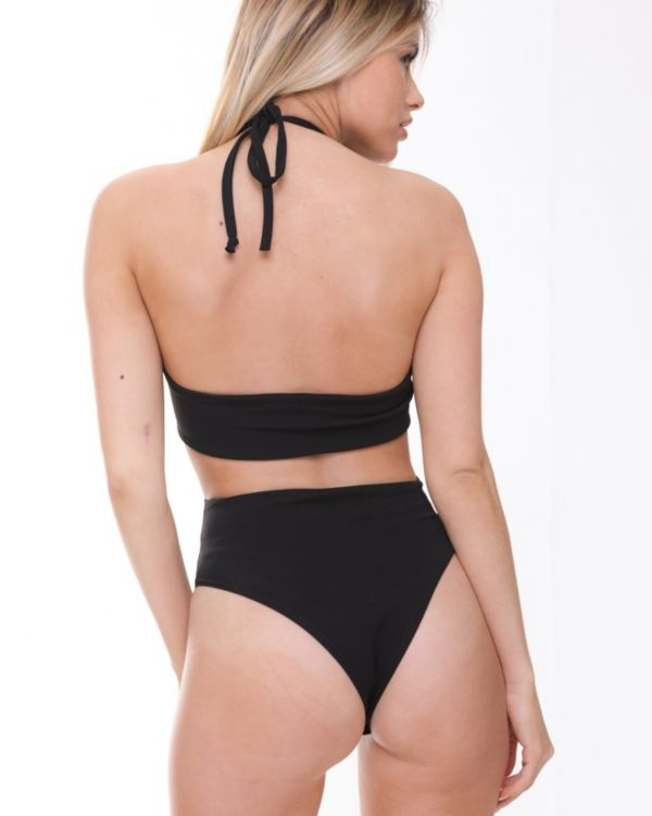 Payton Halterneck Ring Front Bodysuit In Black