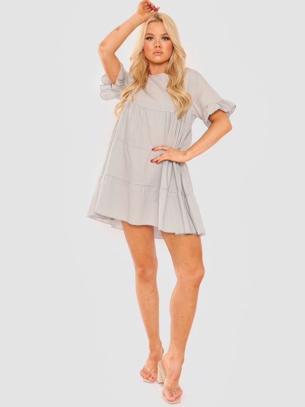 Cherelle Frill Detail Tiered Smock Dress In Grey