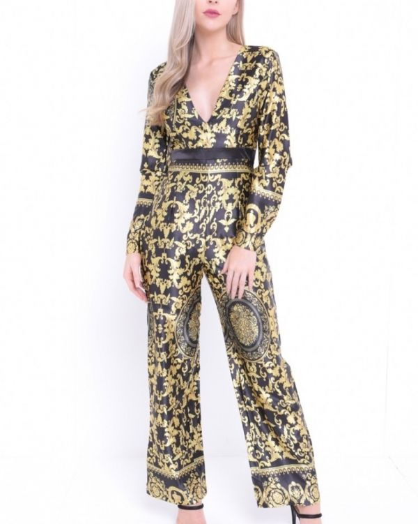 Kate Baroque Print Satin Jumpsuit In Black & Gold