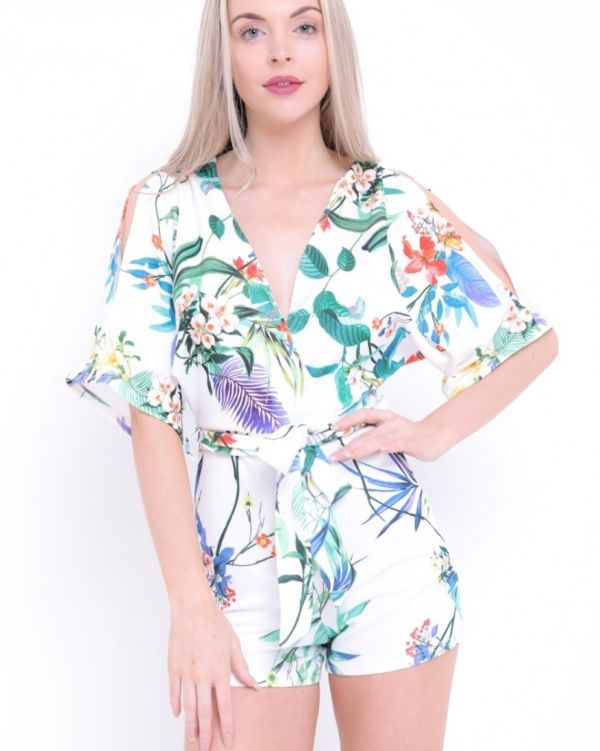 Lucile Tropical Print Wrap Front Playsuit In White