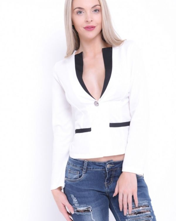 Lexi One Button Contrast Trim Blazer In White