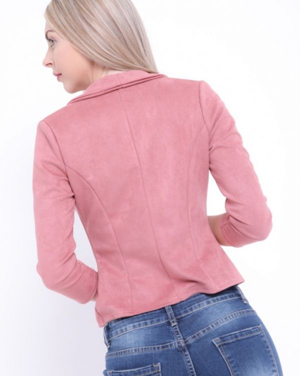 Maliya Tailored Suedette Blazer In Rose