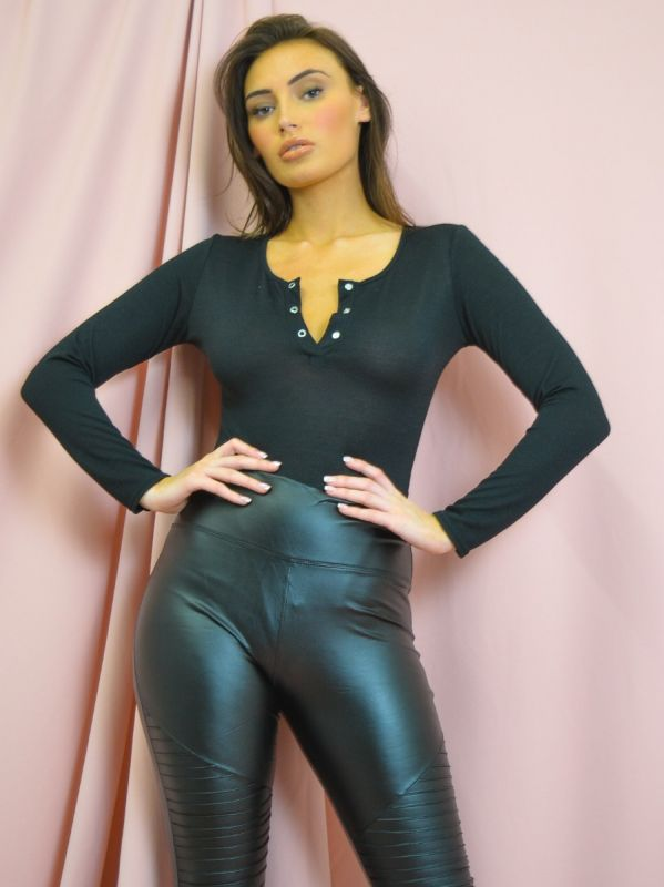 Chancey Popper Button Front Ribbed Bodysuit In Black