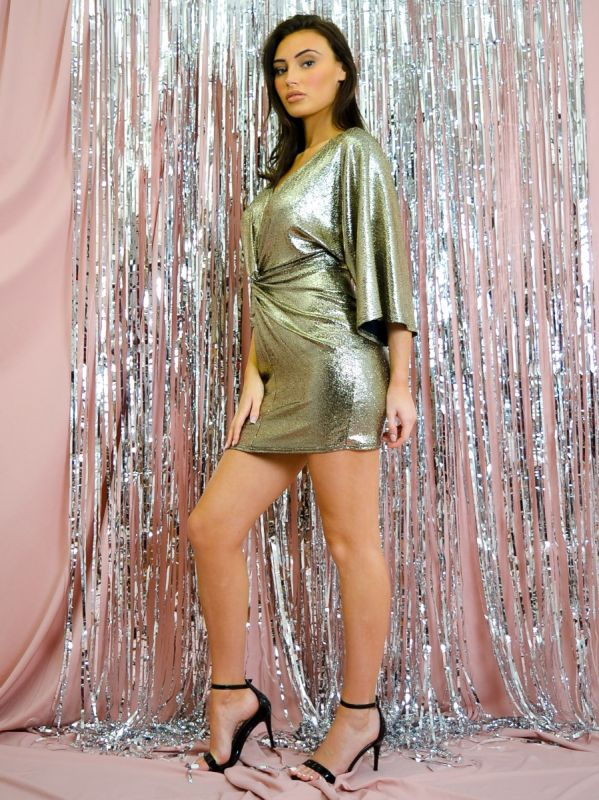 Bethia Metallic Foil Twist Front Dress In Gold