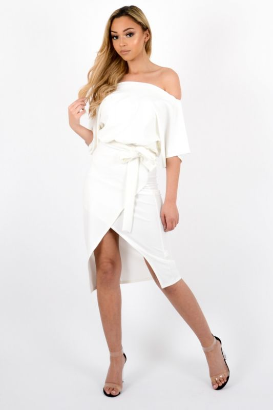 *Olivia Buckland* Marisol Wrap Front Belted Midi Dress In Cream