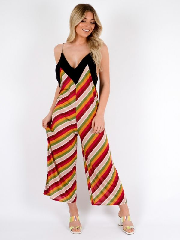 Molly Striped Backless Jumpsuit In Multi