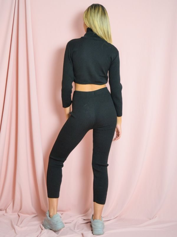 Stella Roll Neck Knitted Ribbed Loungewear Set In Black