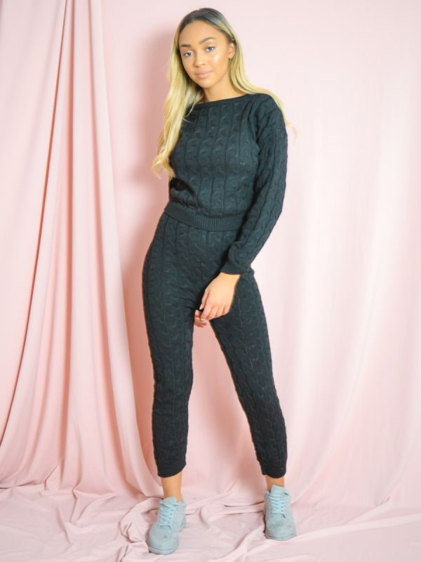 Jaida Cable Knit Top & Bottom Co-ord In Black