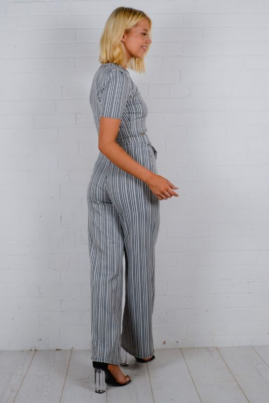 Inaya Striped Ribbed Co-ord In Charcoal