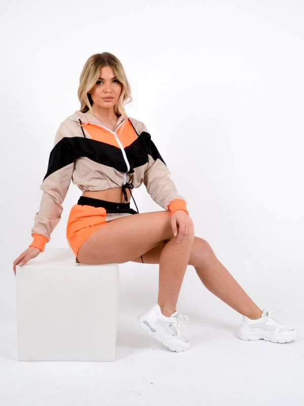 Elle Colour Block Cropped Jacket & Shorts Co-ord-Neon In Orange