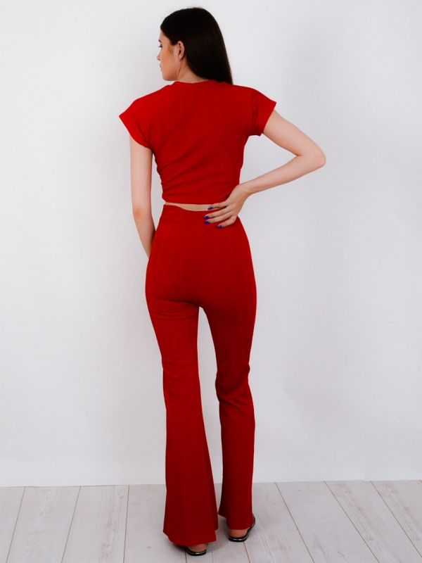 Isadora Ribbed Tie Knot Crop Top & Trouser Co-ord In Red