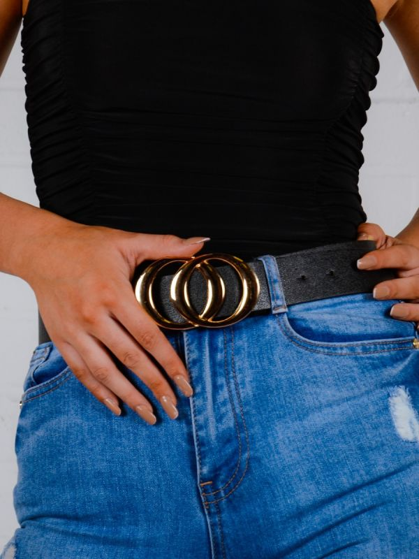 Clara Shiny Big Double Circle Buckle Belt In Black