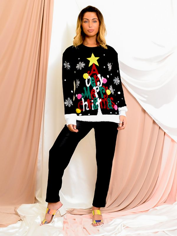 A Very Merry Christmas Pom Pom Knitted Jumper In Black