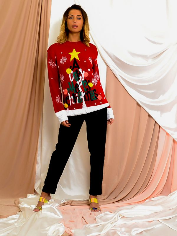 A Very Merry Christmas Pom Pom Knitted Jumper In Red
