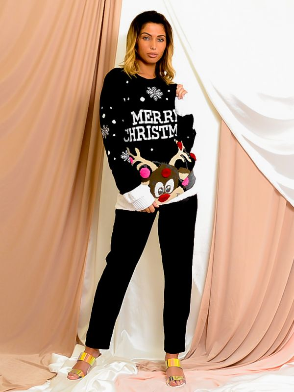 Merry Christmas Rudolph Pom Pom Knitted Jumper In Black