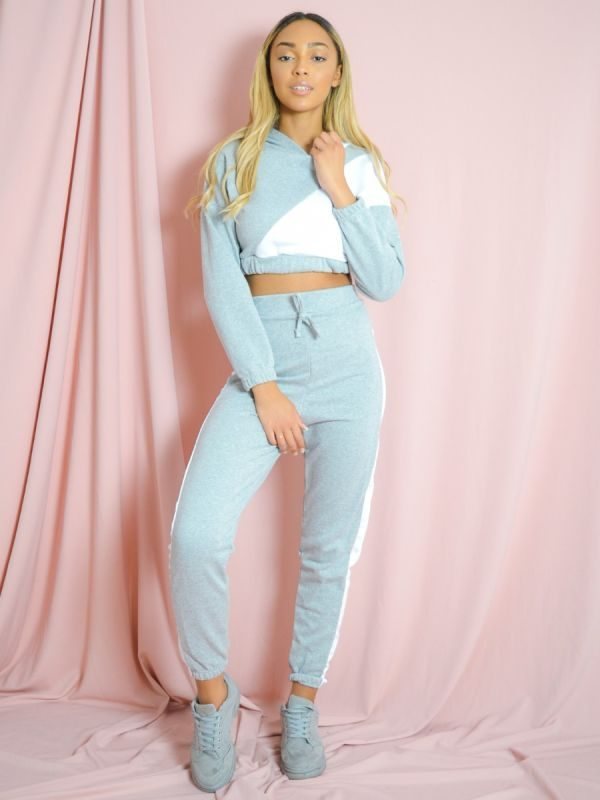 Emely Contrast Cropped Hoodie & Trouser Co-ord In Grey
