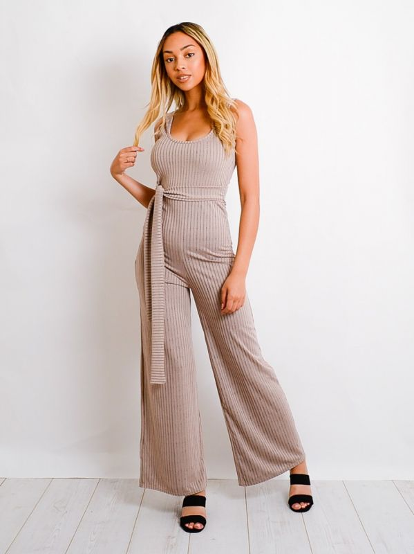 Maya Zip Back Tie Knot Ribbed Jumpsuit In Stone