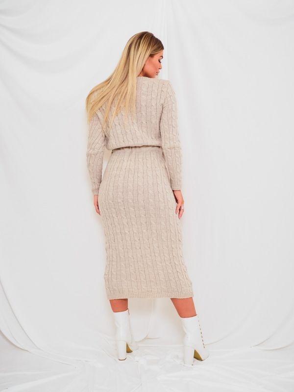 Leora Cable Knit Drawstring Waist Dress In Stone