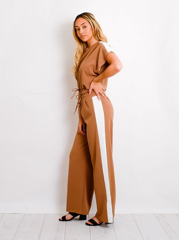 Arden Contrast Panel Boxy Drawstring Co-ord In Camel