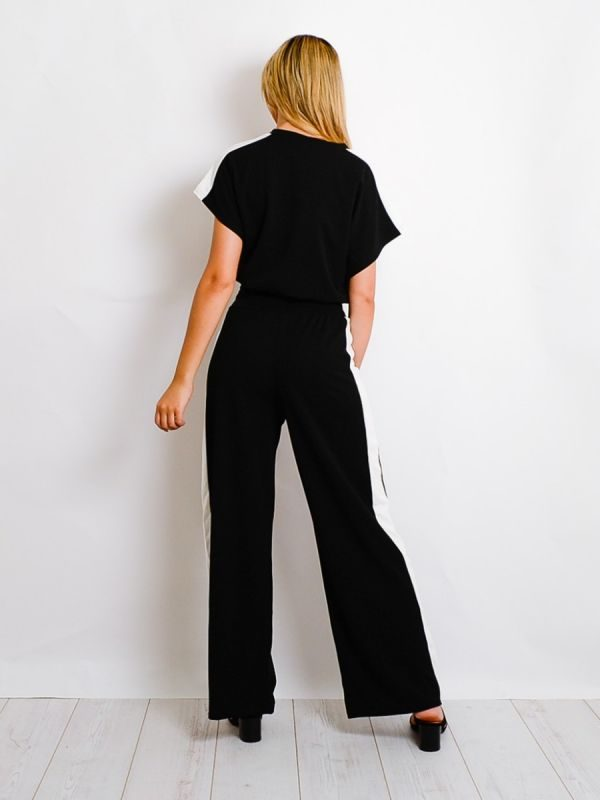 Arden Contrast Panel Boxy Drawstring Co-ord In Black