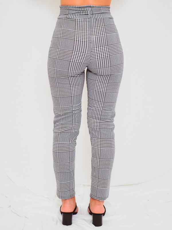 Presley Gingham Check Matching Buckle Belted Trousers In Mono
