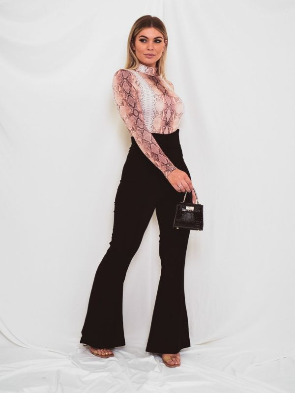 Kayla Button Front High Waist Trousers In Black