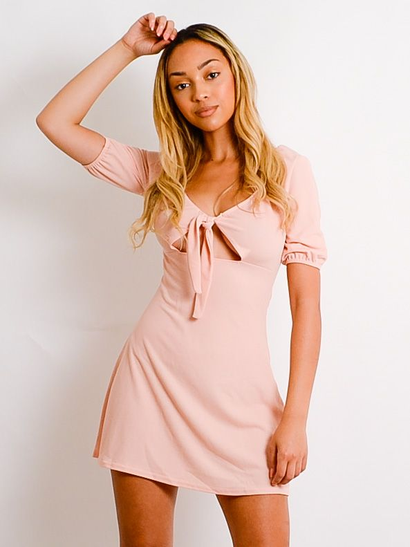 Clarissa Plunge Neck Knot Front Dress In Nude