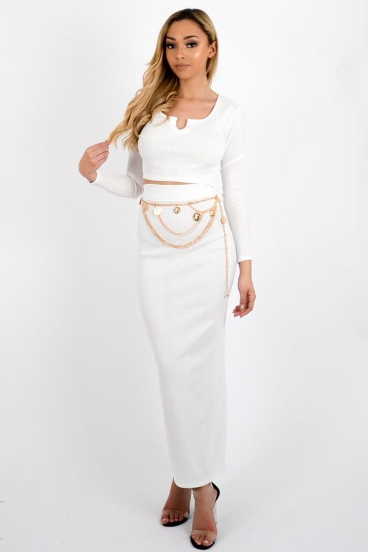 **Olivia Buckland** Lyla Bandage Crop Top & Skirt Co-ord In Cream
