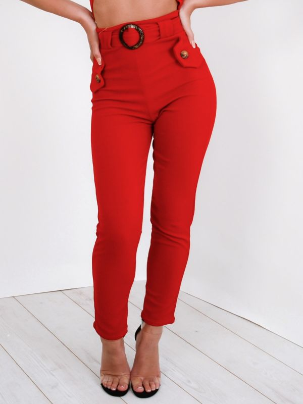 Olivia Wooden Look Buckle Belt Trousers In Red