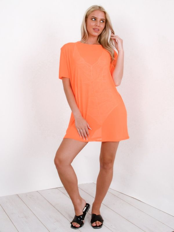 Daya Longline Mesh T-Shirt Top In Orange