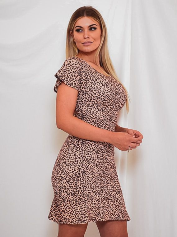 Nora Lace Back Leopard Print Dress In Beige