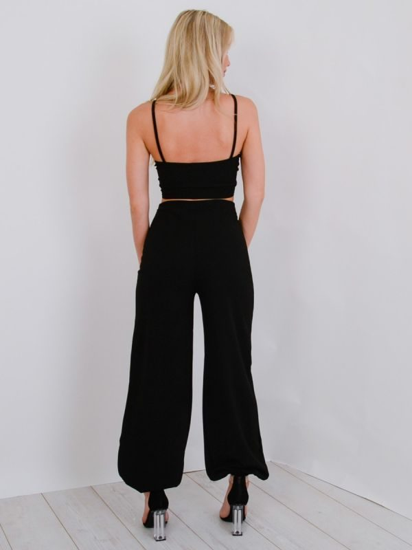 Miriam Ruched Cami Crop Top & Trouser Co-ord In Black