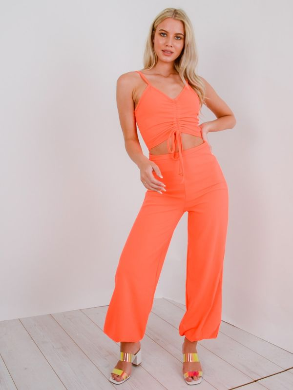 Miriam Ruched Cami Crop Top & Trouser Co-ord In Neon Orange