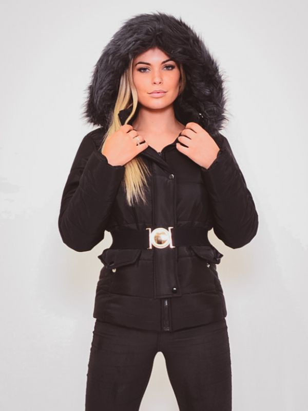 Electra Padded Jacket With Detachable Buckle Belt In Black
