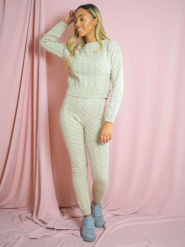 Jaida Cable Knit Top & Bottom Co-ord In Stone