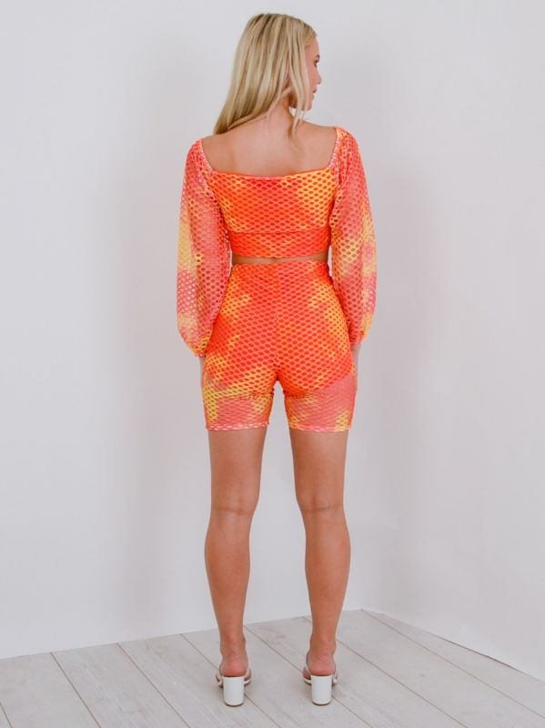 Eva Crochet Fishnet Crop Top & Shorts Co-ord In Orange
