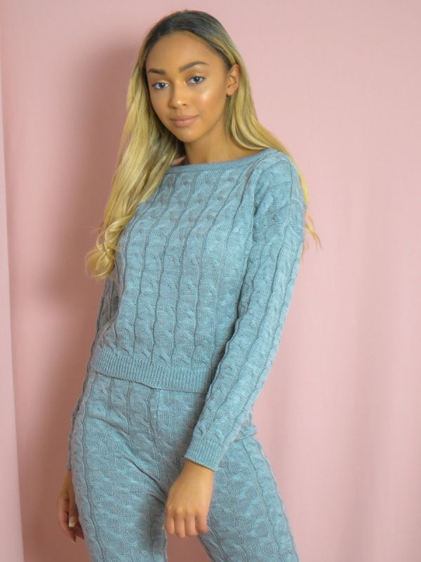 Jaida Cable Knit Top & Bottom Co-ord In Grey