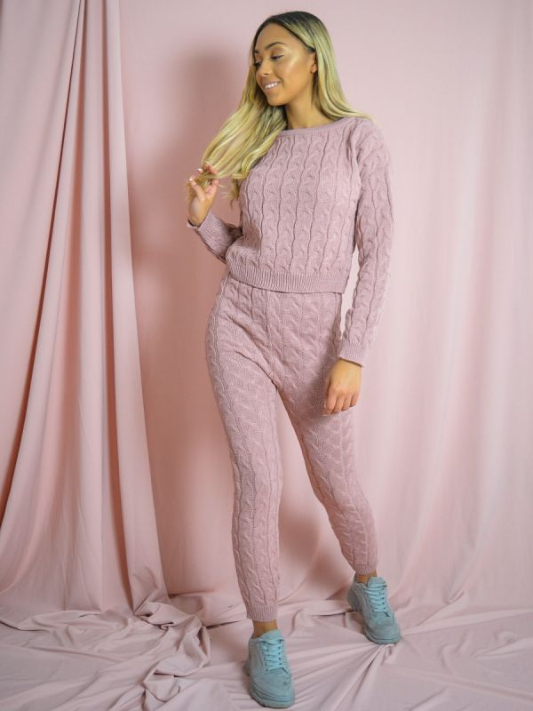 Jaida Cable Knit Top & Bottom Co-ord In Pink