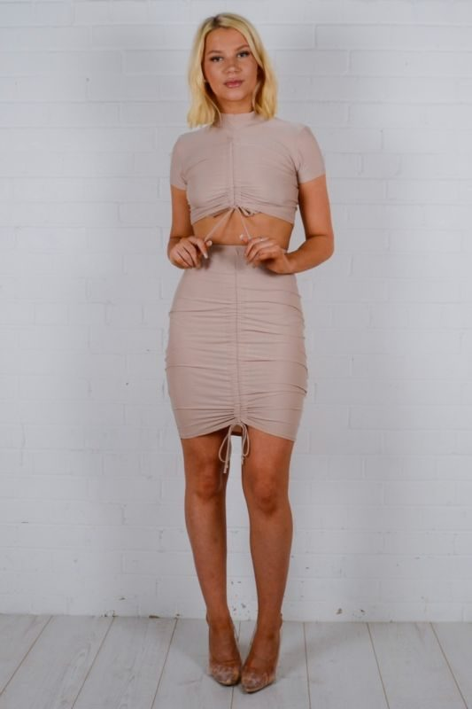 *Olivia Buckland* Rebekah Turtle Neck Ruched Co-ord In Stone